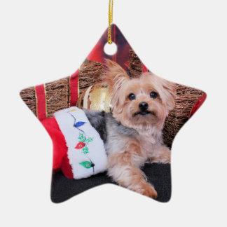 Christmas - Yorkshire Terrier - Vinnie Ceramic Star Decoration