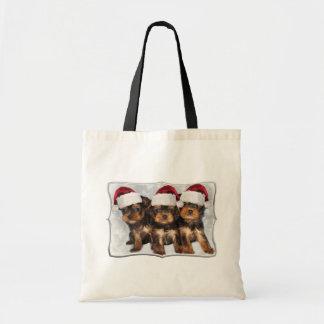 Christmas Yorkshire Terriers tote bag