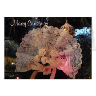 Christmas / Yule Victorian Lace Fan Ornament Card