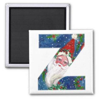 CHRISTMAS Z LETTER / SANTA  RED RIBBON MONOGRAM SQUARE MAGNET