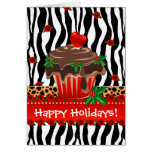 Christmas Zebra Cupcake Leopard Heart Cards
