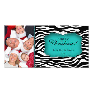 Christmas Zebra Photo Card Teal Jewelry Horizontal