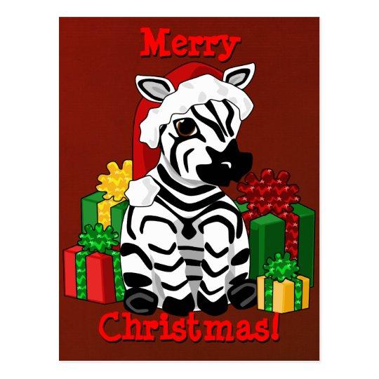 Christmas Zebra Postcard