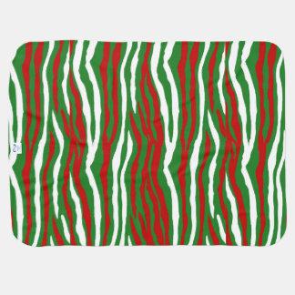 Christmas Zebra Stripes Receiving Blankets