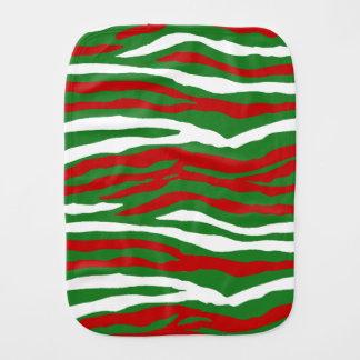 Christmas Zebra Stripes Baby Burp Cloths