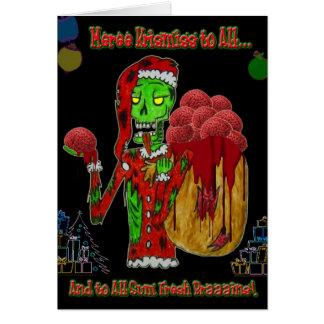 Christmas zombie greeting card