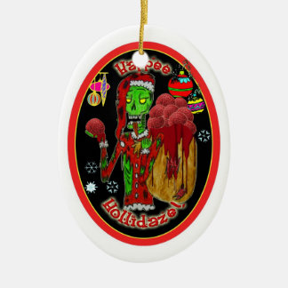 christmas zombie ornament_oval christmas ornament