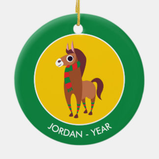 Christmas Zora the Horse Round Ceramic Decoration