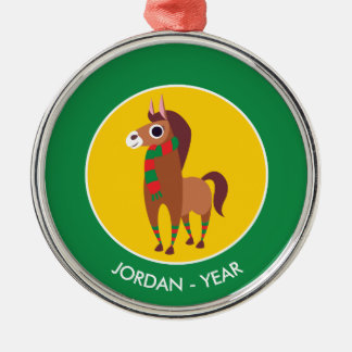 Christmas Zora the Horse Silver-Colored Round Decoration
