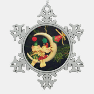 Christmas's mice on the Moon Pewter Snowflake Decoration