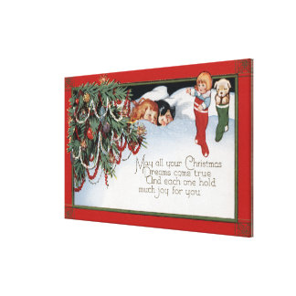 ChristmasSleeping Children and a Poem Canvas Print