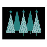 Christmast Trees Teal Ribbon - Ovarian Cancer Postcard