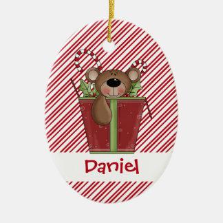 Christmastime Candy Stripes Teddy Bear Ornament