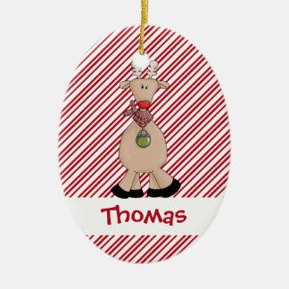 Christmastime Santa Reindeer Holiday Ceramic Oval Decoration