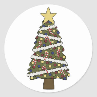 ChristmasTree Ornaments - Choose a Color! Round Stickers