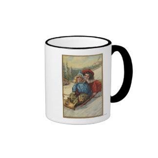 ChristmasTwo Little Girls Sledding Mug