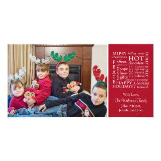 Christmasy Words Christmas Photo Card (Burgandy)