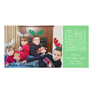 Christmasy Words Christmas Photo Card (Mint Green)