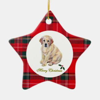 Christms Yellow Labrador Puppy Tartan Christmas Ornament