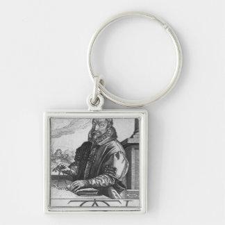 Christophe Plantin Silver-Colored Square Key Ring