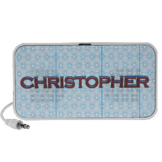 Christopher 3D text graphic over light blue lace iPhone Speaker