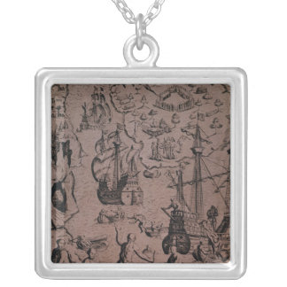 Christopher Colombus discovering the islands Silver Plated Necklace