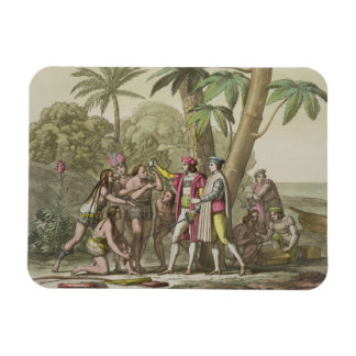 Christopher Columbus (1451-1506) with Native Ameri Rectangular Photo Magnet