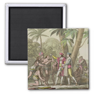 Christopher Columbus (1451-1506) with Native Ameri Square Magnet