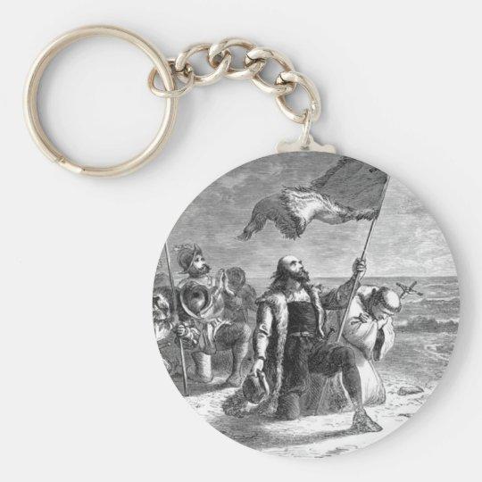 Christopher-Columbus Landing Basic Round Button Key Ring