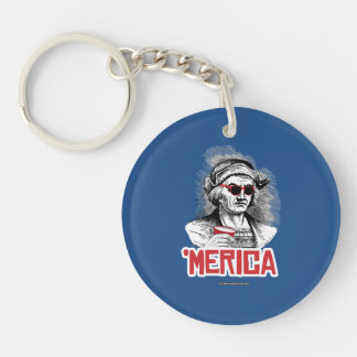 Christopher Columbus 'Merican Party Double-Sided Round Acrylic Keychain