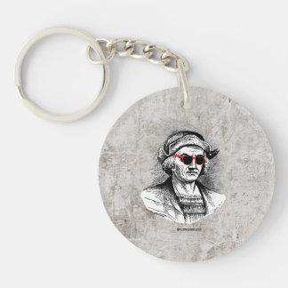 Christopher Columbus Party Glasses Single-Sided Round Acrylic Keychain