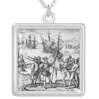 Christopher Columbus  receiving  gifts Silver Plated Necklace