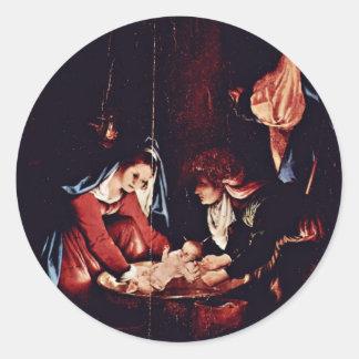 Christ'S Birth, Birth Of Jesus. Painting By Lorenz Round Sticker