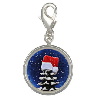 Chritmas tree Round Charm, Silver Plated