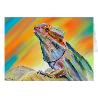 Chromatic Bearded Dragon Digital Paint Greeting Card