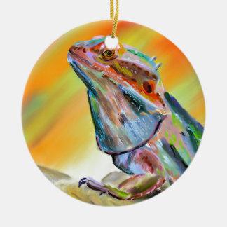 Chromatic Bearded Dragon Digital Paint Round Ceramic Decoration