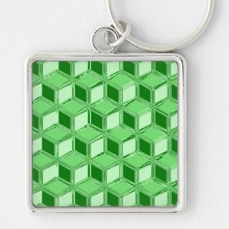 Chrome 3-d boxes - emerald green key chains