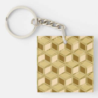 Chrome 3-d boxes - gold colored acrylic keychains