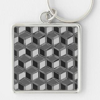 Chrome 3-d boxes - hematite grey keychain