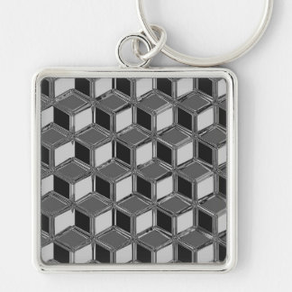 Chrome 3-d boxes - hematite grey Silver-Colored square key ring