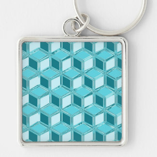 Chrome 3-d boxes - turquoise / aqua keychain