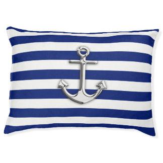 Chrome Anchor on Nautical Navy Blue Stripes Print Pet Bed