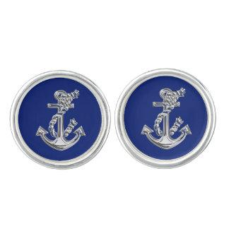 Chrome Anchor on Navy Blue Cufflinks