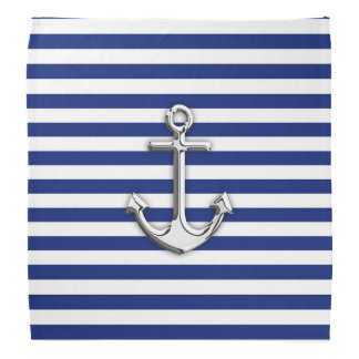 Chrome Anchor on Navy Stripes Bandana