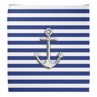 Chrome Anchor on Navy Stripes Bandana