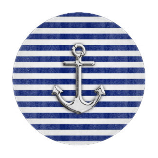 Chrome Anchor on Navy Stripes Cutting Board
