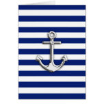 Chrome Anchor on Navy Stripes Greeting Card