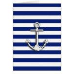 Chrome Anchor on Navy Stripes Greeting Card
