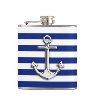 Chrome Anchor on Navy Stripes Hip Flask