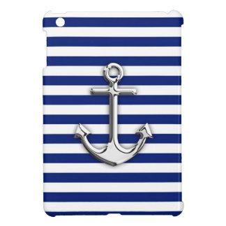 Chrome Anchor on Navy Stripes iPad Mini Case